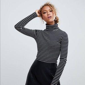 { asos } black + white thin striped turtle neck